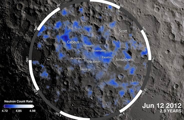 Карта распределения водорода в районе Южного полюса Луны